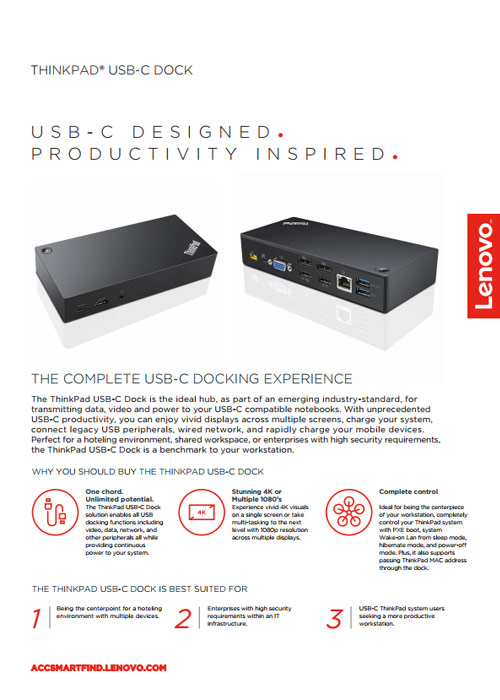 ThinkPad USB-C Dock Datasheet